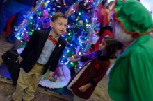 Florida CMN Champion Nate Ferrel is greeted by Mrs. Claus.