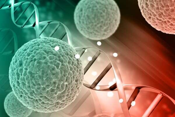 3D medical background with virus cells on DNA strands