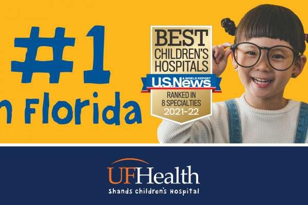 Number one hospital in Florida. Girl holding up one finger