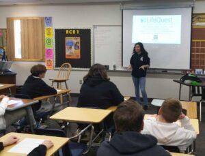 Shiara Veltman Speaking in front of class