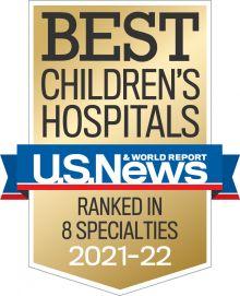 U.S. News Best Children's Hospital Badge 2021-2022