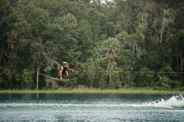 Wakeboarder on lake wauberg
